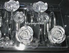 Clear Acrylic Roses Shower Curtain Hooks - Shabby Chic Flowers 12 pc - NEW