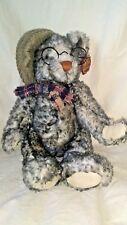 Dan Dee Collectors Choice Gray Teddy Bear Plaid Scarf Glasses 100th Anniversary