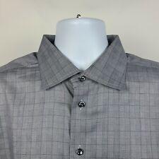 ETON Contemporary Gray Plaid Check Mens Dress Button Shirt Size 18/46