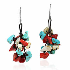 .925 Silver Earrings Cluster Red-White-Blue Stone
