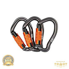 3 Pack 25KN Heavy Duty Caribeaners Auto Locking Rock Climbing Carabiner Clips