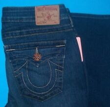 30 x 33 ''Pre-Owned TRUE RELIGION $298 BECKY RECLAIMED AMBER BUTTON JEANS