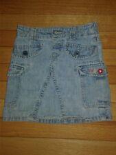Girls Wash Out Denim Elastic Waist A Line Skort W/Side Pockets-Size 5
