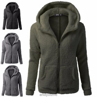 UK Women's Ladies Warm Fleece Coat Hoodie Overcoat Jacket Outwear Plus Size 6-20