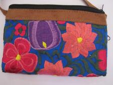 Hand embroidered Guatemala Shoulder Bag, sling bag, leather trim dual zipper new