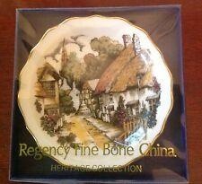 "Regency Fine Bone China 4.5"" Plate England - Thatched Roof Cottages on Lane NIB"