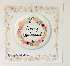 Pocket  Mirror Personalised Bag Makeup Birthday  Party Filler Wedding Favour Hen