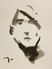 JOSE TRUJILLO -- ABSTRACT NEW EXPRESSIONISM INK WASH 11X15 Portrait Black White