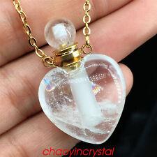 1pc Natural clear quartz heart perfume bottles quartz crystals pendant healing