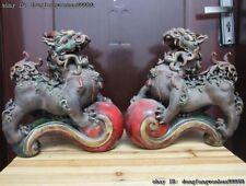 Chinese Royal Pottery Wucai Porcelain Ruyi Foo Dog Lion Unicorn Kylin Beast Pair