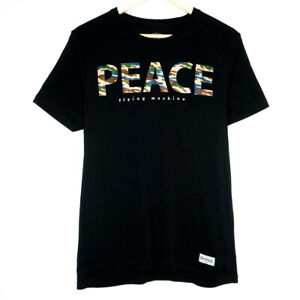 Flying Machine Camo Peace Spellout Mens Black T-Shirt Size Large