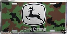 John Deere green field tractor camo tag license plate hunters deer duck quail jd