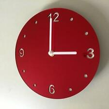 Round Red Mirror & White Clock (white Back) white Hands & Silent Sweep Movement