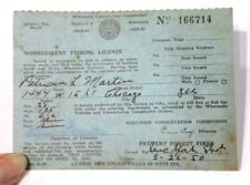 1950 Vintage  Wisconsin Non Resident Fishing License Martin 166714  >
