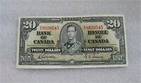 1937 BANK OF CANADA $20 DOLLARS BANKNOTE  BC-25b Gordon Towers AU++