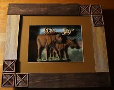 MOOSE SHADOW BOX Rustic Forest Lake Scene Log Cabin Lodge Home Decor Sign - NEW