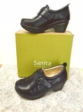 NEW Sanita Nicky 11.5-12/42 Heeled Loafer Clog Black Leather Buckles Slip On