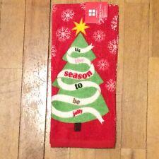Tis The Season To Be Jolly Christmas Tree Kitchen Towel - Snowflakes Star Ribbon