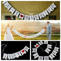 2.4M JUST MARRIED Wedding Banner Decoration Bunting Garland Photo Booth Prop New