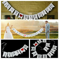 Just Married Banner Sign - Wedding Bridal Shower Bachelorette Party Decorations