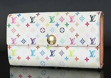 Auth LOUIS VUITTON Sarah White Multicolor Long Wallet Zippered Coin Purse #35062