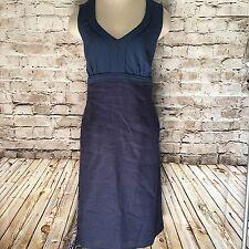 Boden Linen Jersey Dress WH505 Size 10 US 14R UK Navy Blue Sleeveless