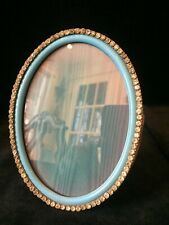 Oval Gilt Dore Bronze French Antique Photo Picture Frame with Turquoise Enamel