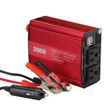 300W Car Power Inverter DC12V to AC110V + Battery Clamp & Cigarette Lighter Plug