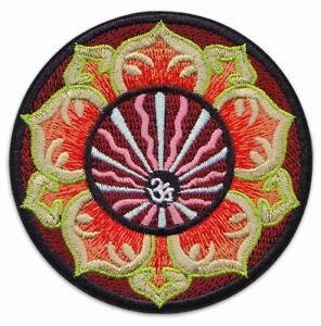 Om Aum Aom Symbol Mandala Lotus Buddha Yoga Goa Aufnäher Aufbügler Patch Sticker