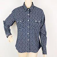 Panhandle Slim Womens Western Shirt Blouse Large Black Floral Print Pearl Snap
