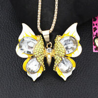Betsey Johnson Enamel Crystal Cute Butterfly Pendant Sweater Chain Necklace Gift