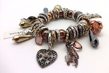 STYLE & CO Tritone Stretch Charm Bracelet With Brown Beads And Pink Stone Charms