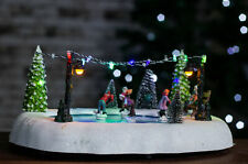 Village Ice Rink Christmas Ornament Rotating Skaters Novelty Decor Light Up LED