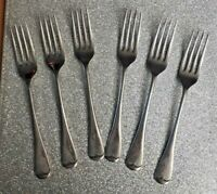 Set of 6 Art Deco Firth Staybright Silver Plated Cutlery 17.5cms Table Forks VGC