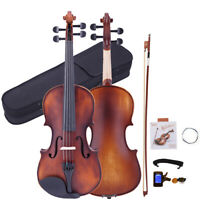 Glarry 4/4 Classic Design Natural Retro Acoustic Violin Fiddle+ Case+ Bow+ Tuner