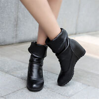Women Hidden Wedge Heels Pull On Mid Calf Boots Solid Round Toe Casual Shoes Sz