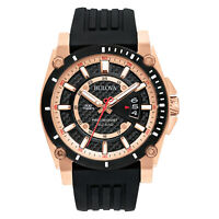 Bulova Men's Precisionist Quartz Rose Gold Tone Black Silicone 44mm Watch 98B152