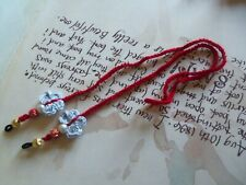 Red Crochet Eyeglasses Strap With Crochet Flowers and Beads. Crochet Strap.