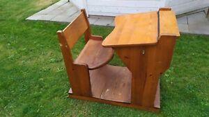 old  1930s. Swedish wooden handmade vintage school desk