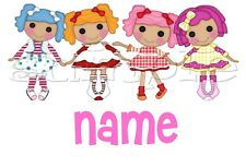 IRON ON TRANSFER personalised lalaloopsy cute dolls in a row group (16x10cm)