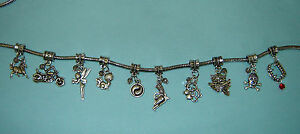 10 Different European Style Dangle Beads for Charm Bracelet W/ Crystal Beads #1