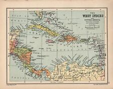 1934 MAP ~ WEST INDIES ~ CENTRAL AMERICA CUBA JAMAICA BAHAMAS HAITI