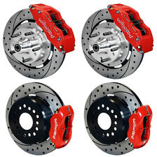 """WILWOOD DISC BRAKE KIT,65-69 FORD,MERCURY,12"""" DRILLED ROTORS,6 PISTON FRONT,RED"""