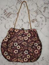 Vintage Delill Flower And Leafs Beaded Evening Purse Handbag France
