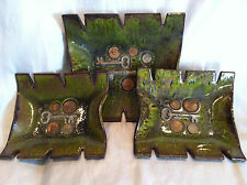 Vintage Green Ceramic Coin/Keys ashtrays and Mexico  RARE Made in USA
