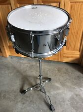 "PEARL 6"" x 14"" STEEL SHELL SNARE DRUM WITH PEARL STAND,BAG,PRACTICE PAD,STICKS"