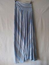 Motherhood Maternity Blue White Stretch Maxi Long Skirt Striped Supersoft NWT M
