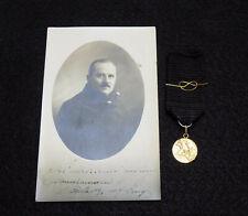 Italian Army Wwi Arditi - 18kt Gold St. George Medal & Photo Postcard