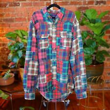 Ralph Lauren Blouse Madras India Plaid Shirt Button Small Patchwork Fall Colors
