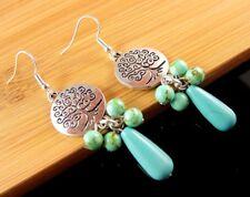 Tree of Life Bohemian Blue Turquoise Gemstone Beaded Dangle Earrings #1537